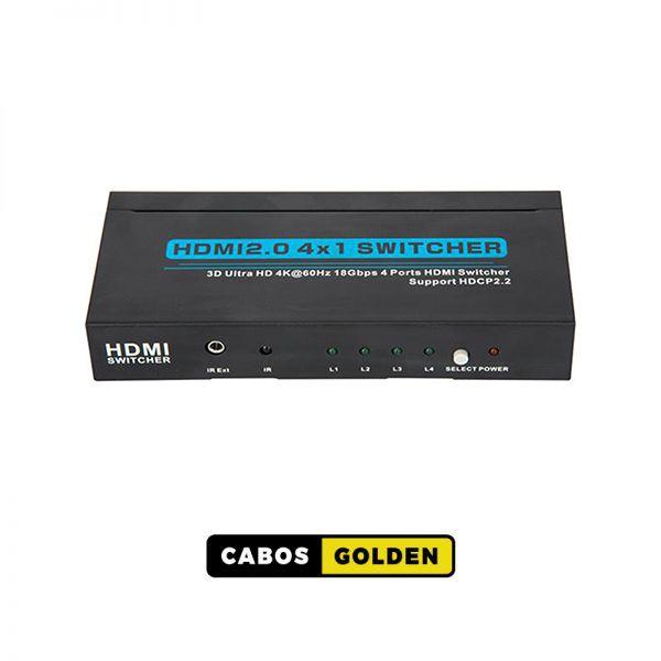Seletor HDMI 4 entradas e 1 saída AUTOMÁTICO 4Kx2K@60HZ 4:4:4 - 18Gbps