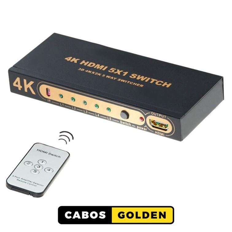 Seletor HDMI entra 5 sai 1 com controle remoto IR 4k2k@30HZ 4:2:0 - 10,2Gbps