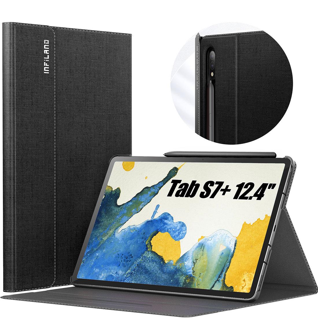 Capa Premium Classic Series Tab S7 FE 12.4 pol 2021 SM-T730 c/ Função Wake Sleep e Suporte S pen  - HARS