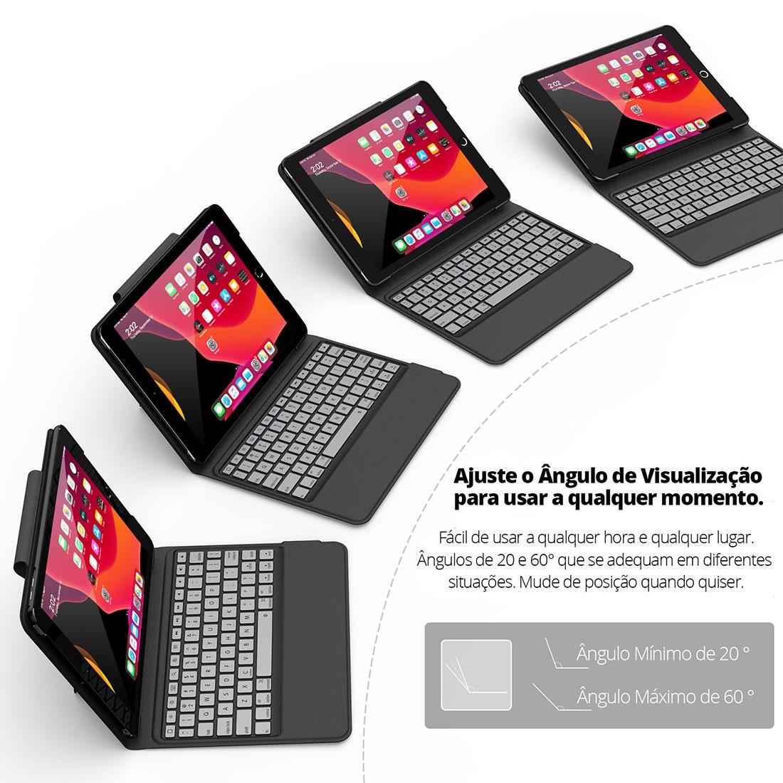 Capa Teclado Premium IPad 7 Geração 10.2 (2019) A2197 A2198 e A2200 - Tablet não incluso