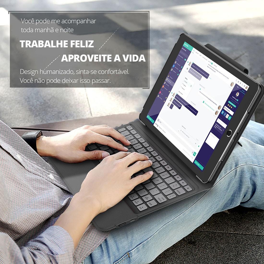 Capa Teclado Premium iPad 8 Geração 10.2 (2020) A2270 A2428 A2429 - Tablet não incluso