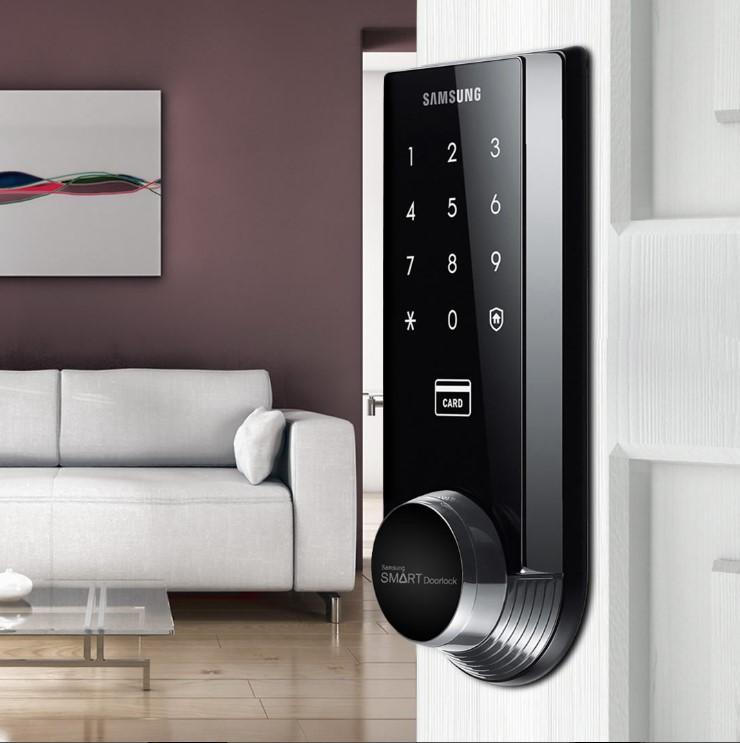 Fechadura Digital Embutida Ultra Slim Samsung SHS-3321 Preto Brilhante Até 70 Cartões e 70 Senhas