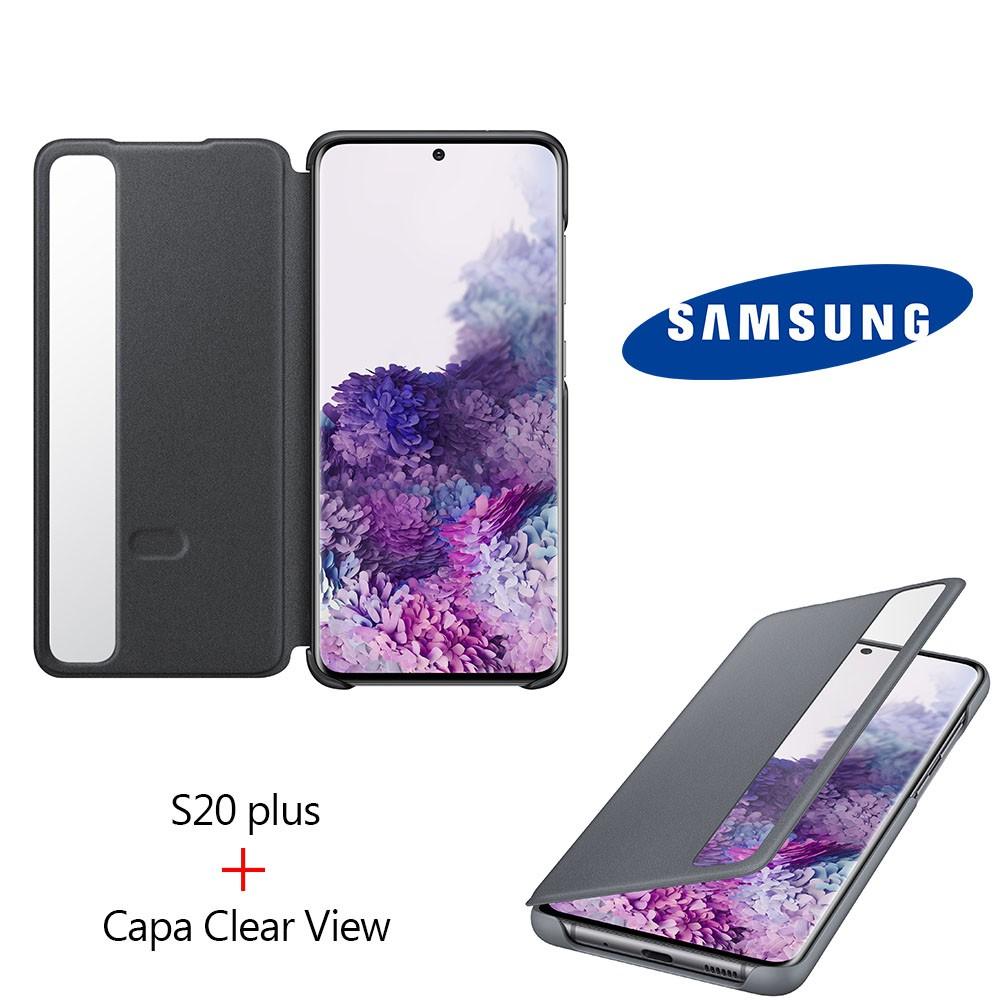 "Kit Samsung Galaxy S20 Plus 6,7"" 128gb 8gb Ram + Capa Clear View"