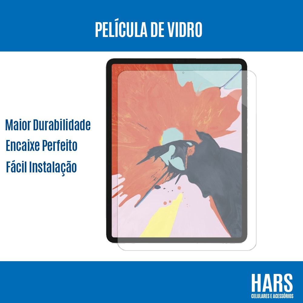 "Película de Vidro Clear Temperado iPad Pro 12.9"" (2018) A1876 A1895 A2014"