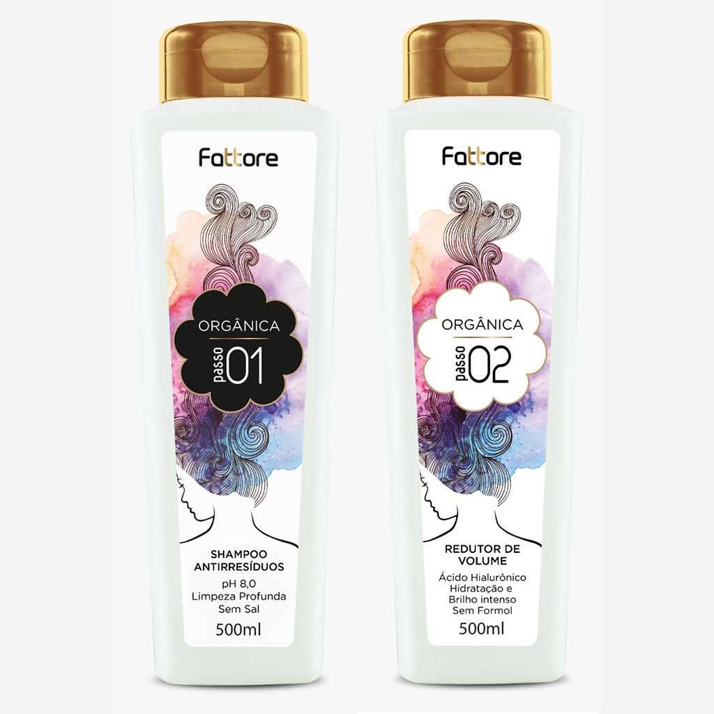 Fattore Kit Escova Orgânica 500ml Shampoo e Redutor de Volume