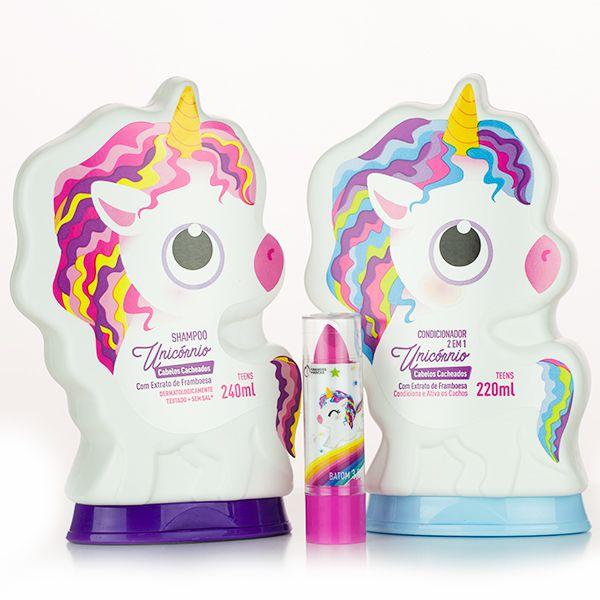 Kit Unicórnio Cachos Teens Shampoo + Condicionador 2 em 1 + Batom - Grandes Marcas