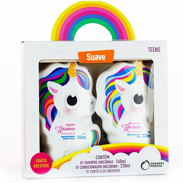 Kit Unicórnio Suave Teens Shampoo + Condicionador 2 em 1 + Cartela de Adesivos - Grandes Marcas