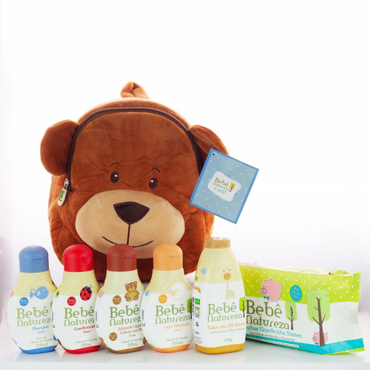 Presente Maternidade - Mochila Urso + Kit Bebê Natureza Suave Extrato de Algodão