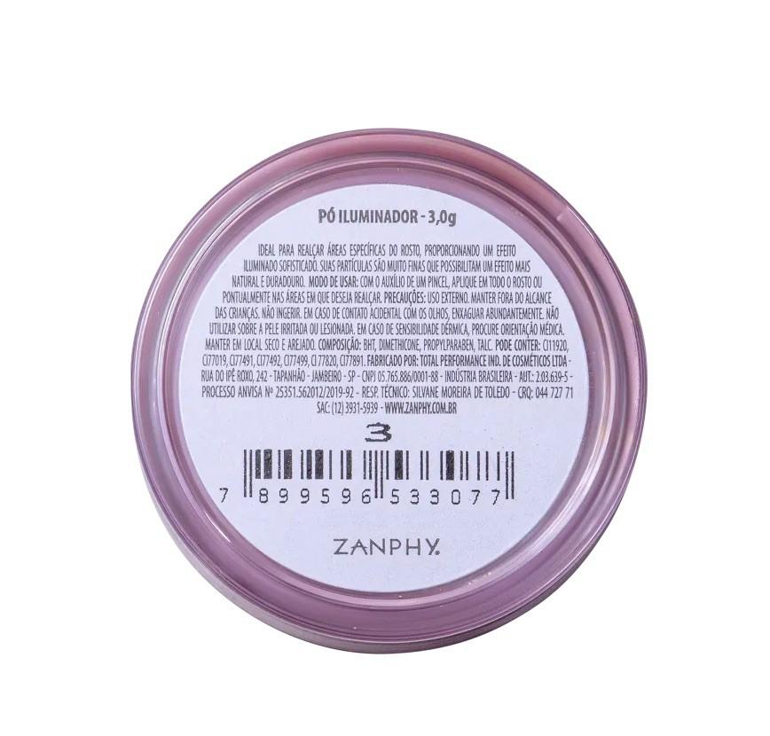 Zanphy Pó Iluminador Solto Facial Glow Cód 03 3g
