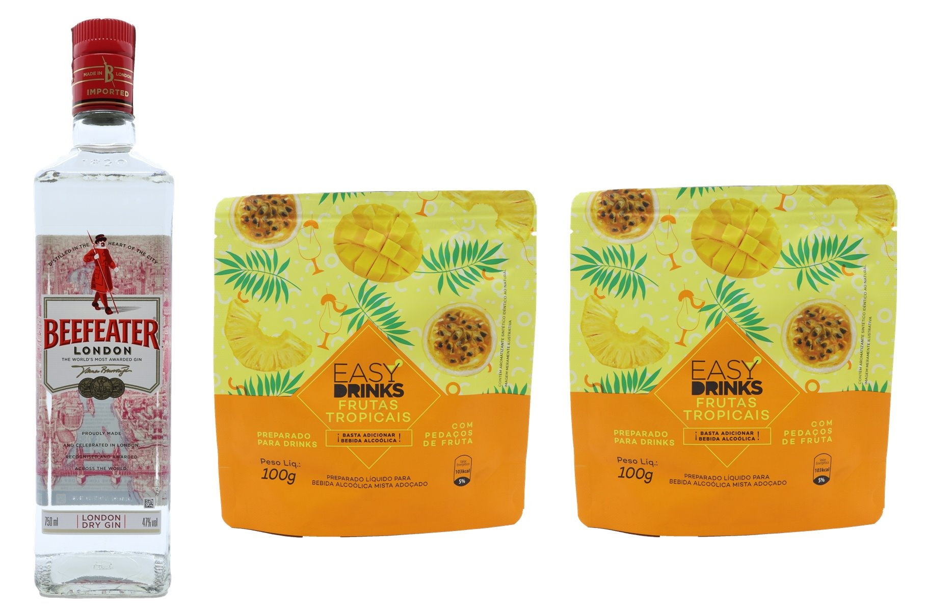 GIN BEEFEATER + 2 PACKS FRUTAS TROPICAIS EASY DRINKS