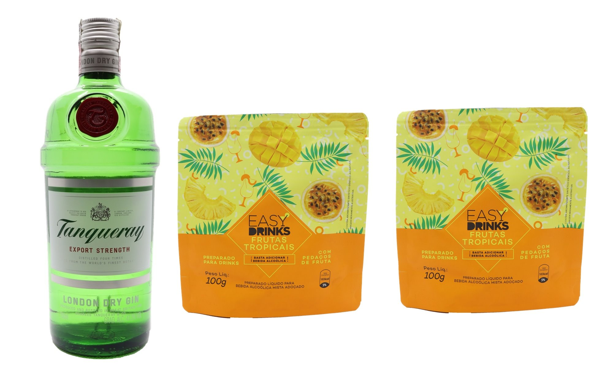 GIN TANQUERAY + 2 PACKS FRUTAS TROPICAIS EASY DRINK'S