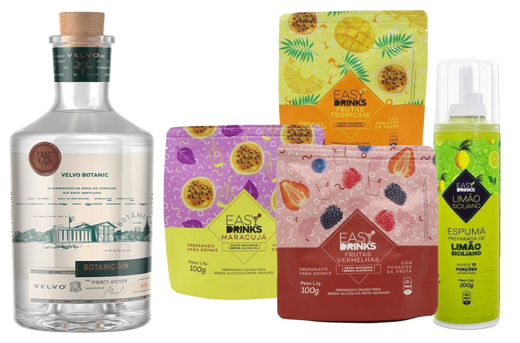 GIN VELVO + PACK EASY DRINKS (1 PACK MARACUJÁ + 1 PACK FRUTAS VERMELHAS + 1 PACK FRUTAS TROPICAIS + 1 ESPUMA LIMÃO SICILIANO)