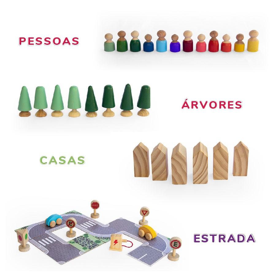 Estrada + Casas + Pessoas + Árvores