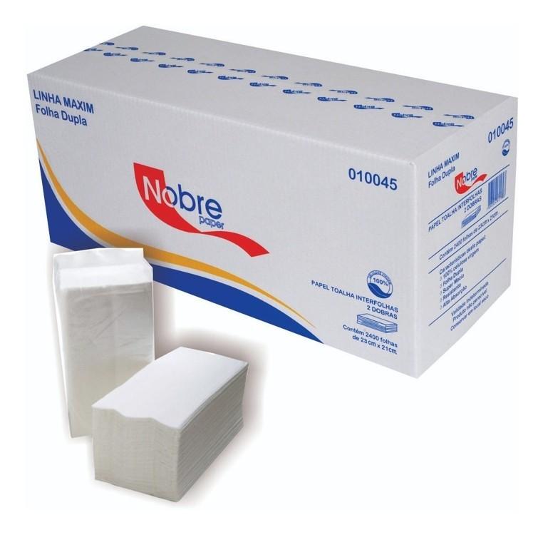 01 Dispenser papel Toalha Interfolhado +01 cx de papel toalha interfolhado com 2000und Nobre