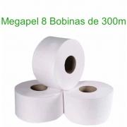 Papel Higiênico Rolão Megapel Branco 300m c/8