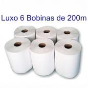 Papel Toalha Bobina Branco Luxo 200m com 6 rolos Marca Bonno