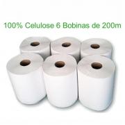 Papel Toalha Bobina Levíssimo 200m 100% Celulose com 6 Rolos