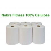 Papel Toalha Bobina Nobre Fitness 200m 100% Celulose com 6 Rolos