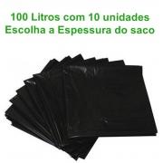 Saco de Lixo 100L - preto - 10 unidades