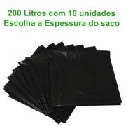 Saco de Lixo 200L - Preto - 10 unidades