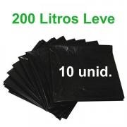 Saco de Lixo Preto 200 litros 10 unidades Tipo Leve