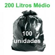 Saco de Lixo Preto 200 litros 100 unidades Tipo Médio