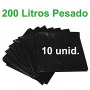 Saco de Lixo Preto 200 litros 10 unidades Tipo Pesado Reforçado