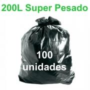 Saco de Lixo Preto 200 litros 100 unidades Tipo Super Pesado Reforçado