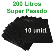 Saco de Lixo Preto 200 litros 10 unidades Tipo Super Pesado Reforçado