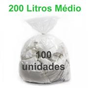Saco de Lixo Transparente 200 litros 100 unidades Tipo Médio