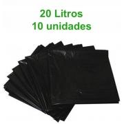 Saco de Lixo 20L - Preto - 10 unidades