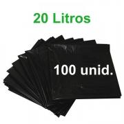 Saco de Lixo Preto 20 litros 100 unidades Tipo Leve