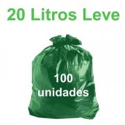 Saco de Lixo Verde 20 litros 100 unidades Tipo Leve