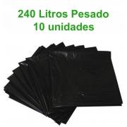 Saco de Lixo 240L Pesado - Preto - 10 unidades