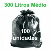 Saco de Lixo Preto 300 litros 100 unidades Tipo Médio