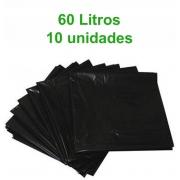Saco de Lixo 60L - Preto - 10 unidades