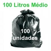 Saco de Lixo Preto 100 litros 100 unidades Tipo Médio