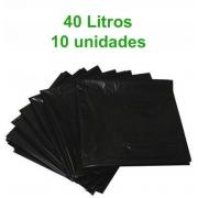 Saco de Lixo Preto - 40 Litros -10 unidades