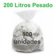 Saco de Lixo Transparente 200 litros 100 unidades Tipo Pesado Reforçado
