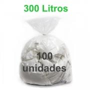 Saco de Lixo Transparente 300 litros 100 unidades Tipo Pesado Reforçado