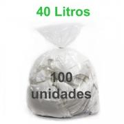 Saco de Lixo Transparente 40 litros 100 unidades Tipo Leve