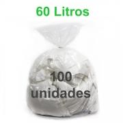 Saco de Lixo Transparente 60 litros 100 unidades Tipo Leve
