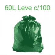 Saco de Lixo Verde 60 litros 100 unidades Tipo Leve