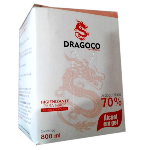 Álcool gel 70º Higienizante para mãos refil 800ml - Marca Dragoco