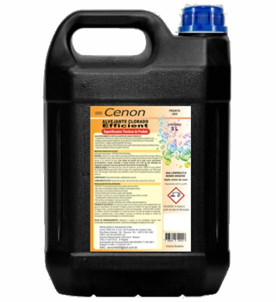 Alvejante 5 Litros - Marca Cenon - Bactericida - Concentração de cloro de 2,0% a 2,5%