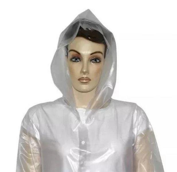 Capa de Chuva Transparente de PVC Laminado Sem Forro
