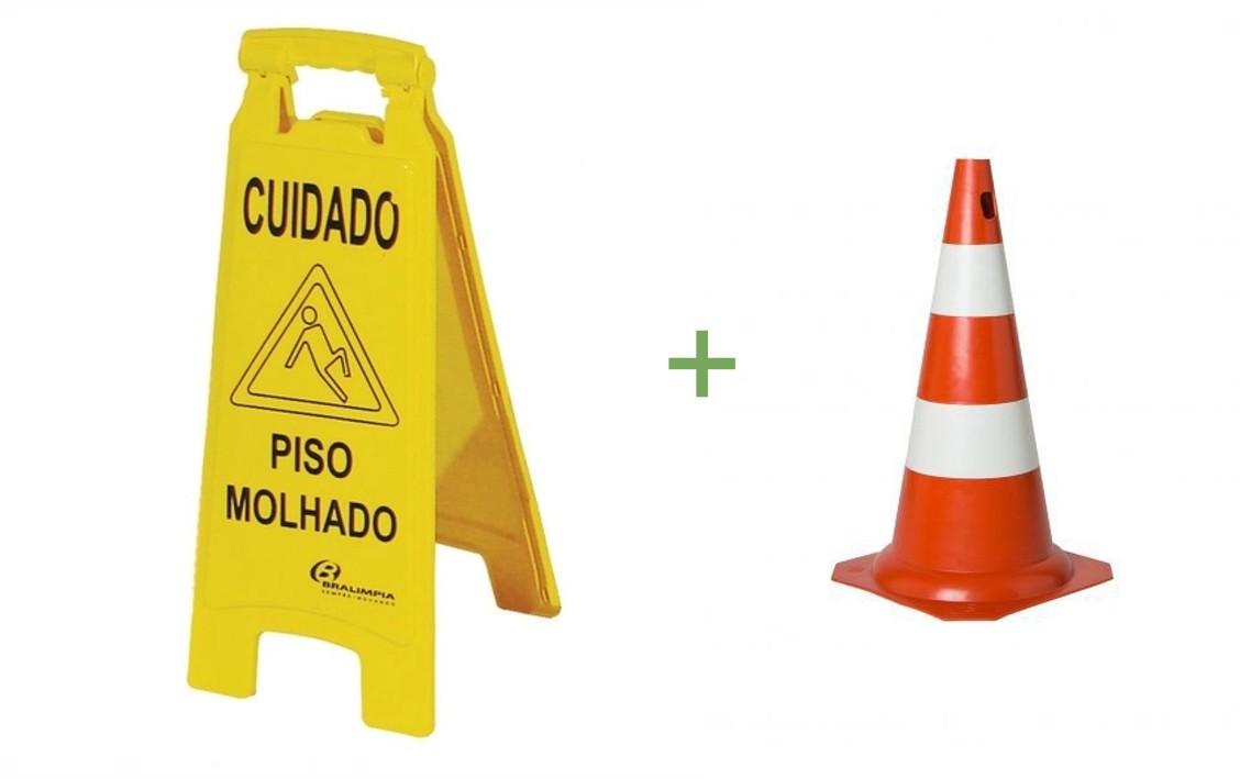 Cone Sinalizador + Placa Bralímpia