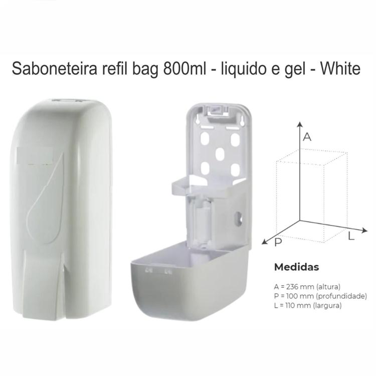 Dispenser para Sabonete Líquido - Com Reservatório e Chave - Fortcom