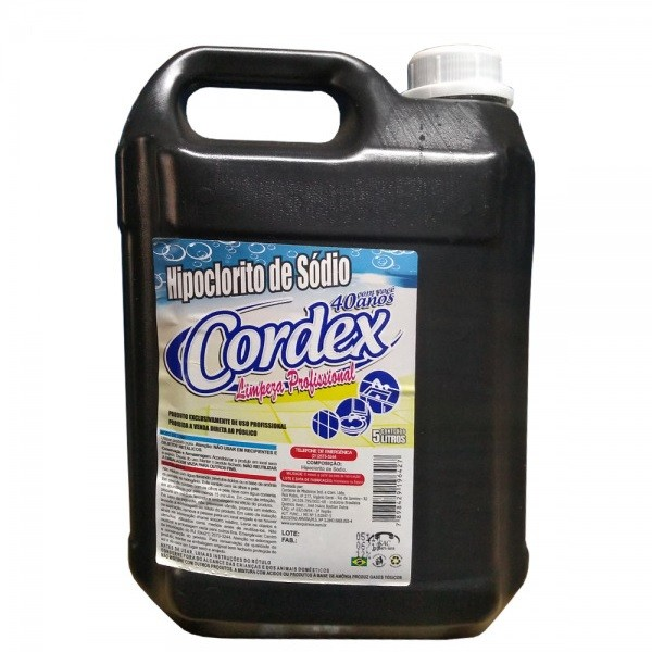 Hipoclorito 5 Litros - Marca Cordex - Bactericida - Concentração de cloro de 1,0%