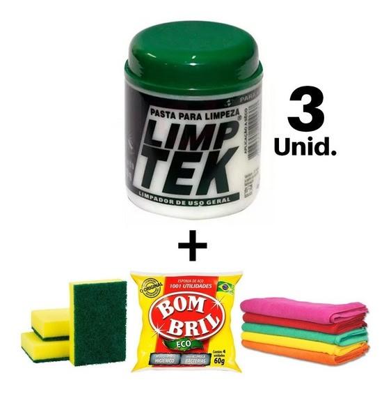 Kit Limpeza A Seco 03 Pasta Limptek+3 Esponja+1 Bombril Pano